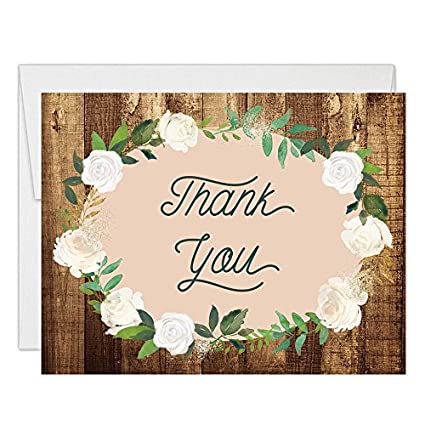 Amazon Rustic Country Design Thank You Cards With Envelopes