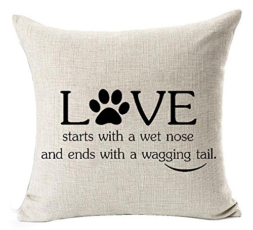 Best Dog Lover Gifts Nordic Warm Sweet Funny Sayings Love Starts With A Wet Nose And Ends With A Wagging Tail Cotton Linen Throw Pillow Case Cushion Cover NEW Home Decorative Square 18X18 Inches