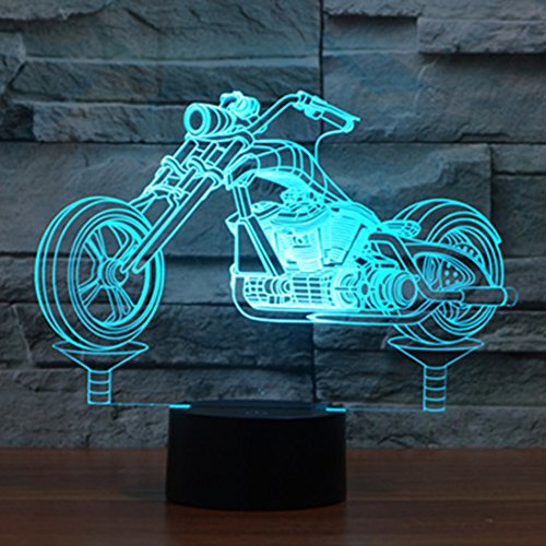 Novelty Motorcycle 3D Illusion Lamp Led Night Light with 7 Colors Flashing & Touch Switch USB Powered Bedroom Desk Lamp for Kids Gifts Home Decoration