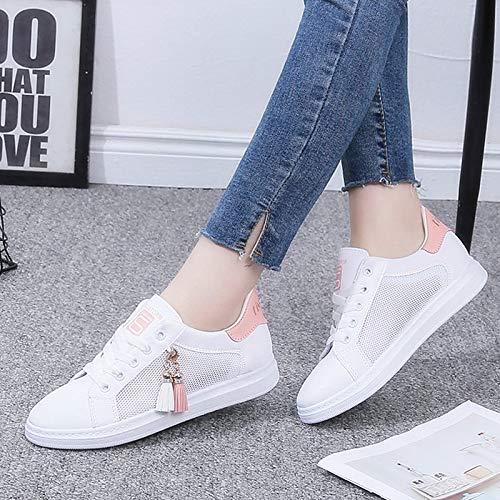 Zapatos Sneakers Comfort Heel Black Mujer de Pink ZHZNVX Round Flat Poliuretano PU Pink Tassel Summer Toe dp0dwYq
