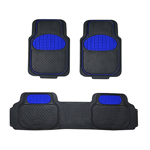 FH Group F11500 Touchdown Floor mats Full Set Rubber Floor Mats, Blue/Black Color- Fit Most Car, Truck, SUV, or Van ()