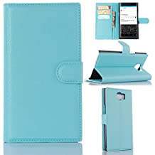BlackBerry Priv Phone Case, Gift_Source [Blue] [Stand Feature] Magnetic Snap Case Wallet Premium Wallet Case Built-in Card Slots Flip Case Cover Skin for Blackberry PRIV Smartphone 5.4 inch