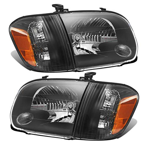 Partsam Replacement for Toyota Tundra Double Cab 05 06/Toyota Sequoia 05 06 07 Headlight Headlamps Assembly Side Left Right Amber Reflector Corner Lights Black Housing (Driver and Passenger Side) (2005 Sequoia Headlight Assembly)
