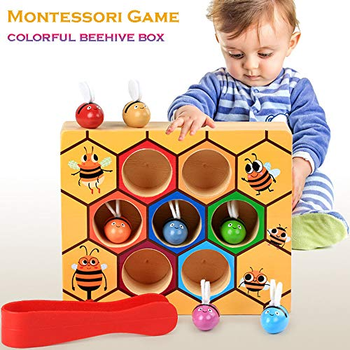 Euone Beehive Box Toy, Wooden Lovely Bee Picking Toy Catching Practices for Baby Early Educational Toddler Montessori Game Colorful Beehive Box