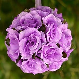 "4 pcs Lavender 7"" Kissing Balls Silk Open Roses Wedding Flowers Centerpieces #PIC2735 77"