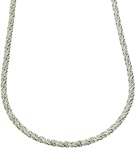 "Italian 3 Strand Twisted Mesh Necklace in Sterling Silver Lengths 16/"" to 20/"""