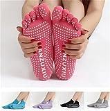 Iumer Women's 5 Toes Yoga Gym Socks Dance Sport Exercise Non Slip Massage Fitness Warm Socks Purple For Sale