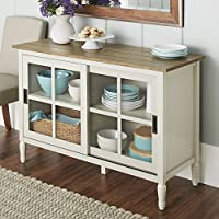 Glass Door Storage Buffet, Sturdy Wood Construction, Adjustable Shelves, Metal Door Pulls, Multifunctional, Suitable For Entertainment Console, Dining Room, Living Room, Kitchen + Expert Guide