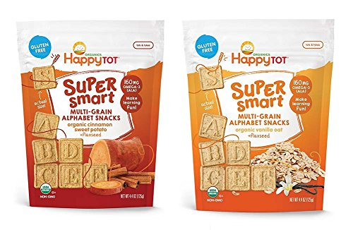Happy Tot Organics Multi Grain Alphabet Snacks Bundle: Vanilla Oat, Cinnamon Sweet Potato (1 bag of each)