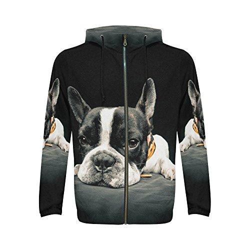 INTERESTPRINT Custom Funny French Bulldog Puppy Pet Men's Full-Zip Zipper Hoodies Sweatshirt XL ()