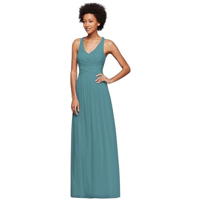 891d254678 David s Bridal Mesh Long Bridesmaid Dress with Crisscross Back Style  W10974