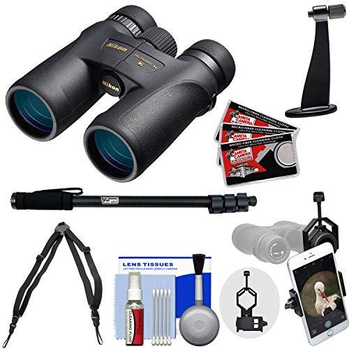 Nikon Monarch 7 8x42 ED ATB Waterproof/Fogproof Binoculars with Case + Harness + Smartphone and Tripod Adapters + Monopod + Cleaning Kit