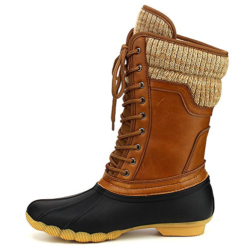 ShoBeautiful Women's Waterproof Duck Boots Rubber Two Tone Mix Media Skimmers Winter Rain Snow Mid Calf Boots Black/Cognac 6 ()