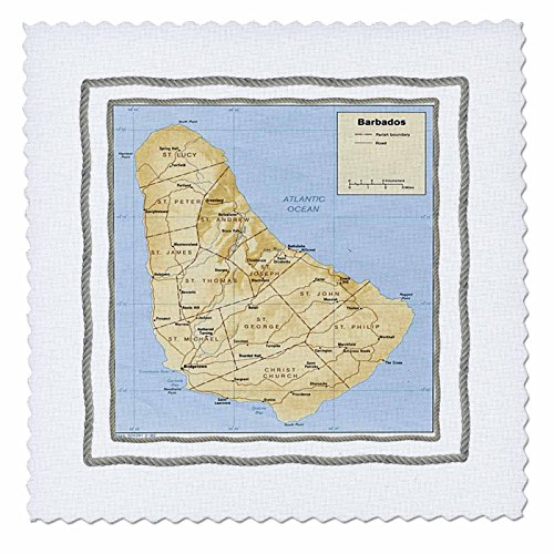 3dRose qs_50903_1 Map of Barbados Quilt Square, 10 by - Of Square Map One