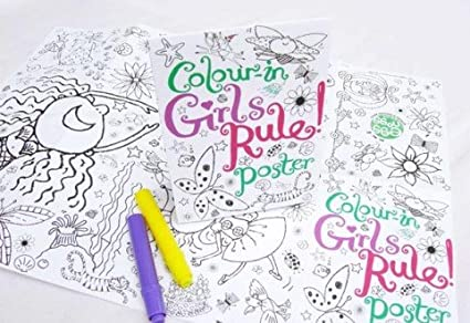 Colour-in Girls Rule Poster Eggnogg Craft Activity For Girls