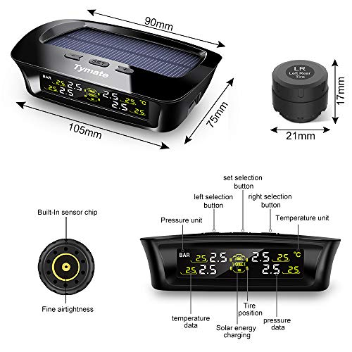 Tymate TPMS Solar Power with HD LCD Screen- Real-time Displays 4 Tires' Pressure, Temperature (-40℃~80℃)- Wireless Tire Pressure Monitoring System with 4pcs External Sensors (0-6.0 BAR)- 6 Alarm Modes by Tymate (Image #6)