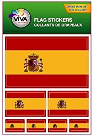 SPAIN ESPANA COUNTRY FLAG COLLECTION OF 7 DIFFERENT SIZE DECAL STICKERS .. NEW IN PACKAGE