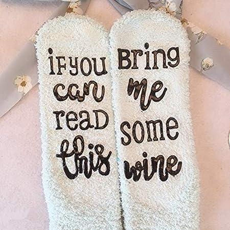 Goefly Calcetines de Vino, Si Puedes Leer Esto, tráeme un Poco de Vino Calcetines de Regalo Mujeres Calcetines de Vino Divertidos Accesorios