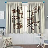 Chaneyhouse Movie Theater Patterned Drape for Glass Door Photography and Cinema Vintage Set in Sketch Art Style Director Shooting Waterproof Window Curtain 55'' W x 39'' L Beige Brown