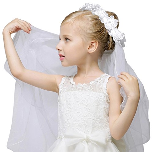 Girls Fashion Floral Headpiece Veil Flower Crown,White_without comb -
