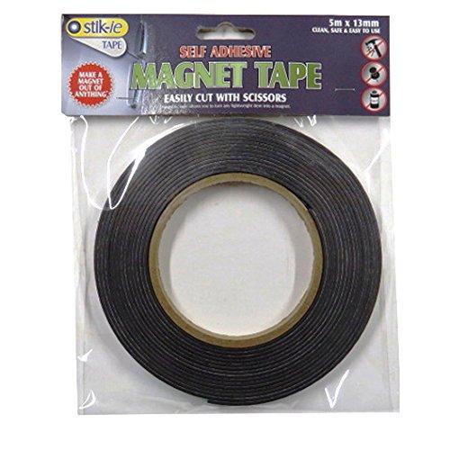 Magnet Tape, Self Adhesive Easy Cut, 0.5'' Width, 5 Meter Roll by Stik-ie