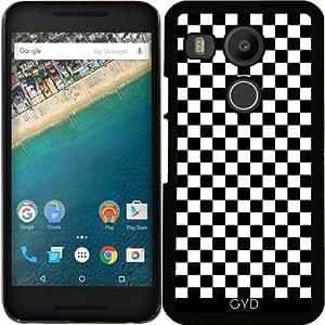 Funda para Google Nexus 5X (LG) - Modelo A Cuadros Blanco Y Negro by Djuranne