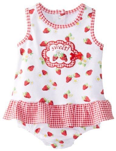 Vitaminas Baby Baby-Girls recién nacido dulce fresa sunsuit, Blanco, 3 Meses Color