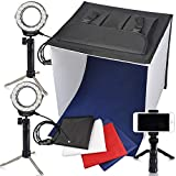 Portable Photo Studio Box, FOSITAN 16 x 16 inches Foldable Table Top Photography Lighting Light Box Shooting Tent (900lm X 2, 7W LED Ring Head X 2, Tripod X 3, Backdrop X 4, 3200K-9000K, K40)