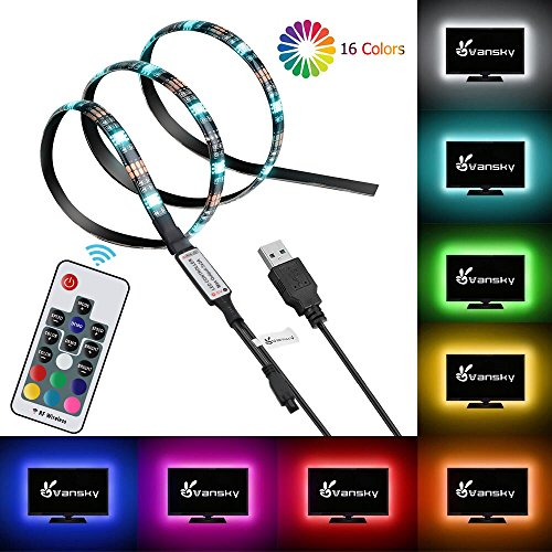 LED Strip Lights, Vansky Bias Lighting Led Strip Light for HDTV USB Powered TV backlight for 30-55 inch TV, Desktop PC - 16 Multi Colors with Wireless Remote