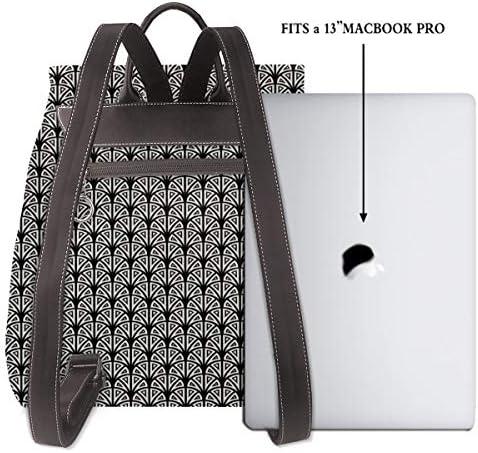 Zaino Donna Vera Pelle Geometrico 62 Borsa Da Viaggio a Grande Capacità, Borsa a Tracolla Lady Fashion Backpack Daypack Per Scuola Viaggio Lavoro
