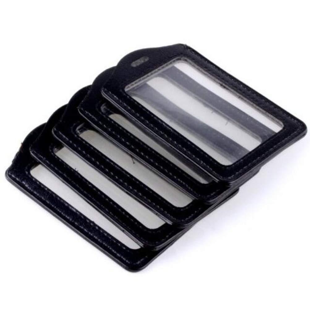 - Nero orizzontale contiene da 3 a 4 carte cinturino in pelle PU con doppia faccia ID Cordino//cinghia Porta badge