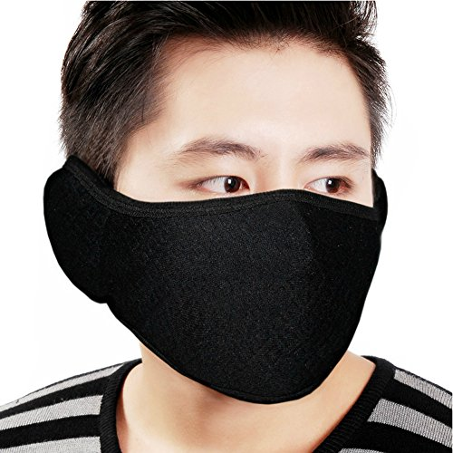 Elandy 2PCS Unisex Winter Breathable Dustproof Prevent Mist Haze Pure black Earloop Face Mouth Mask Anti-fog Windproof Earmuff Masks for Cycing