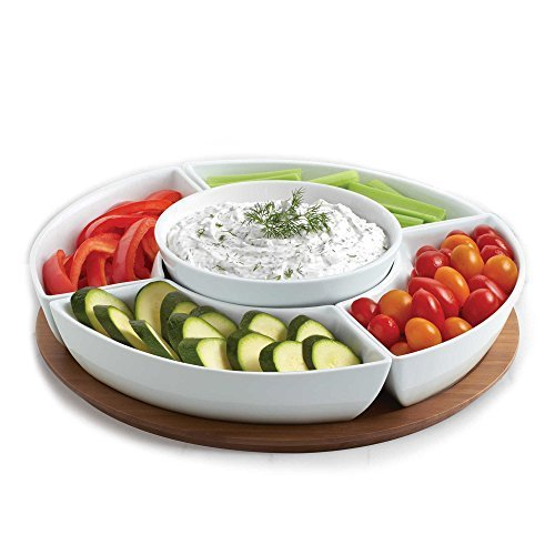 B. Smith Multi-Purpose Server with Tray, 5 Pieces Tray Division, Perfect for Chips, Salads