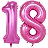 40inch Pink Number 18 Jumbo foil Helium Balloons for Bithday Party Festival Decorations Photo Props (Pink 18)