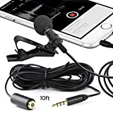Miracle Sound Deluxe Lavalier Lapel Clip-on Omnidirectional Condenser Microphone and 10 ft Cable for Apple Iphone, Ipad, Ipod Touch, Samsung Android and Windows Smartphones