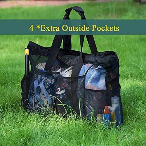 Bulex Extra Large Beach Bags and Totes - XXL Mesh Tote Bag with Pockets & Zipper, Heavy Duty, Lightweight & Foldable - Oversized Carry Tote Bag for Towels, Perfect to Carry All Items for Your Family