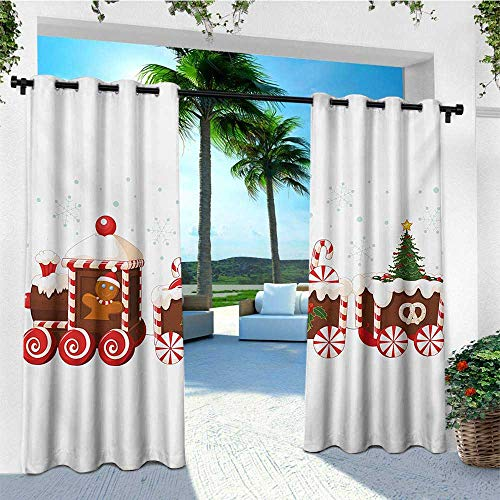 leinuoyi Christmas, Outdoor Curtain Extra Wide, Train with Gingerbread Cream Candy Cartoon Toys Snowflakes Presents, for Patio W120 x L96 Inch White Brown Vermilion