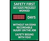 NMC DSB7 Digital Safety Scoreboard Sign - Safety First, We Have Proudly, OSHA