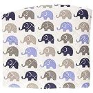 Elephants Blue/Grey Blue mini elephants Changing Pad Cover
