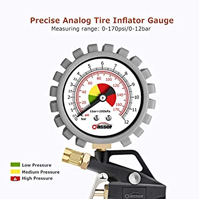 Oasser Tire Inflator with Pressure Gauge 170PSI Tire Gauge Inflator Air Compressor Accessories with Brass Air Chuck Quick Connect Coupler: Automotive