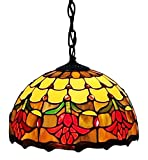 Amora Lighting AM1056HL10 Tiffany Style Tulips Design Hanging Pendant Lamp - 12-Inch