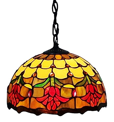 Amora Lighting AM1056HL10 Tiffany Style Tulips Design Hanging Pendant Lamp, 12-Inch - Tiffany Tulip