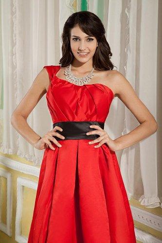 knielangen Schulter Abendkleid Schaerpe BRIDE mit Rueschenband GEORGE schwarze Rot Eine xw8TqtwEA
