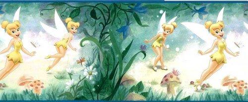 Disney Tinkerbell Very Fairy Kids Girls Green Yellow Wallpaper Border DF059273B