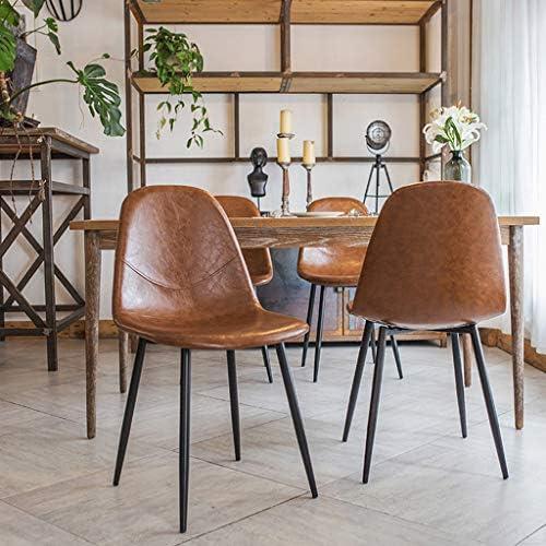 CHAISE de Salle à Manger avec Assise en Cuir Synthétique de Cuisine Rembourrées Modernes sans Bras avec Pieds en Métal - pour Le Salon de Cuisine de Café