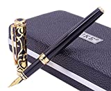 Duke Sapphire Fude Nib Fountain Pen Black Gold Trim Original Gift Box Set, Iridium Bent Nib Writing Pen for Business Signature, Art Drawing,Calligraphy