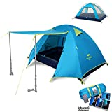 Naturehike 2-4 Person 3 Season Backpacking Tent Lightweight Waterproof Awning Design Two Doors Double Layer with Aluminum Rods for Outdoor Camping Family Beach Hunting Hiking Travel