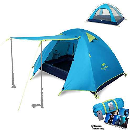 Topnaca 2-4 Person 3 Season Backpacking Tent Waterproof Awning Design Two Doors Double Layer with Aluminum Rods for Outdoor Camping Family Beach Hunting Hiking Travel (Azure, 2 Person)