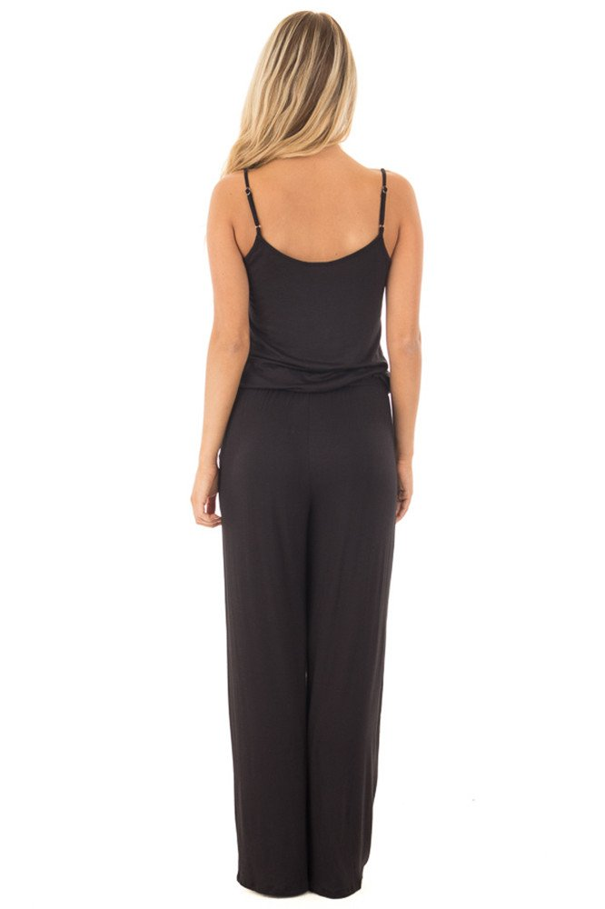 sullcom Women Summer Solid Sleeveless Wide Leg Jumpsuit Casual Spaghetti Strap Stretchy Long Pant Rompers by sullcom (Image #5)
