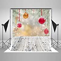 Kate 5 x 7ft(1.5x2.2m) Christmas Photography Backdrops for Photographers Cotton No Wrinkle Seamless Collapsible Reused Wood Floor with Snow and Bells Photo Backdrop for Children